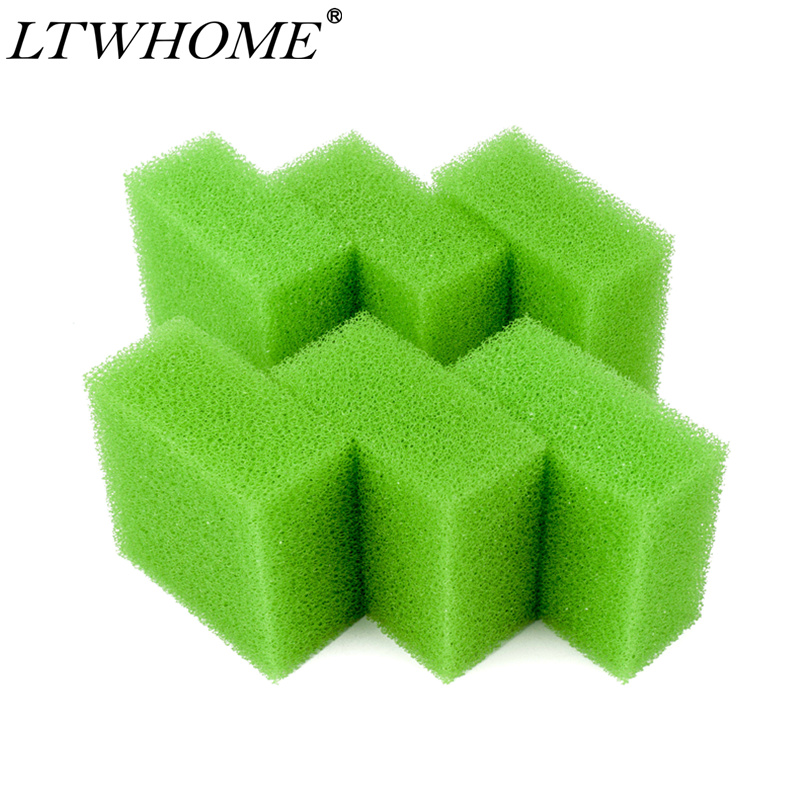 LTWHOME Pack Of 6 Compatible Medium Aquarium Filter Sponge Fit For Juwel Compact / Bioflow 3.0