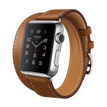 El extra larga correa de cuero genuino para apple watch band recorrido doble pulsera de cuero correa de reloj de 38mm y 42mm disponibles