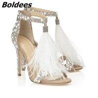 Fashion Embellished Crystal White High Heel Shoes Woman Feather Fringed Rhinestone Heeled Sandals Bridal Wedding Shoes