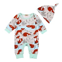 Toddler Newborns Baby Rompers Set Long Sleeve Fox Printed Jumpsuits + Hat Suits Kids Boys Girls Sets