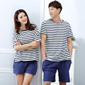 2016 New Couple Pajamas Set Love sleepwear Men Summer Cotton Short-sleeved Pyjamas Womens Pajamas