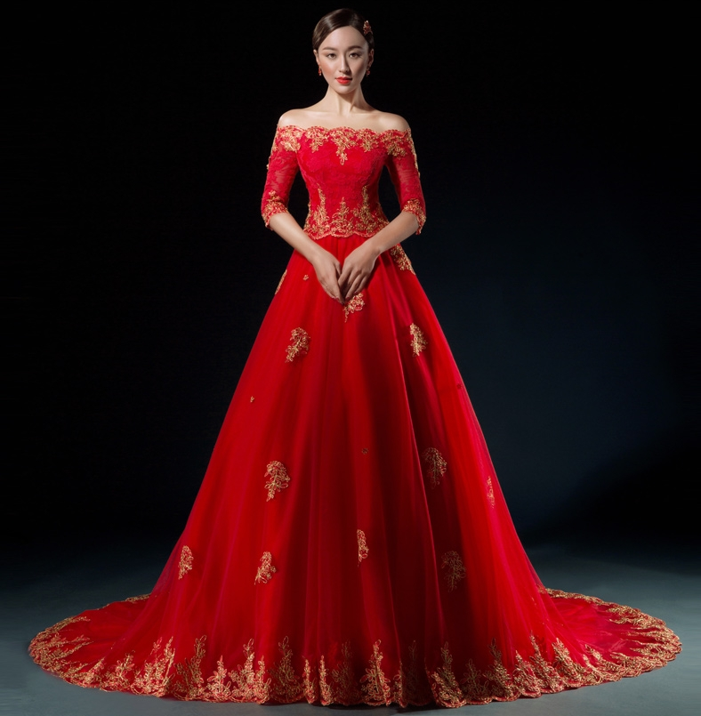 Non Traditional Red Wedding Dresses: Aliexpress.com : Buy 2017 Red Gold Arabic Wedding Dresses