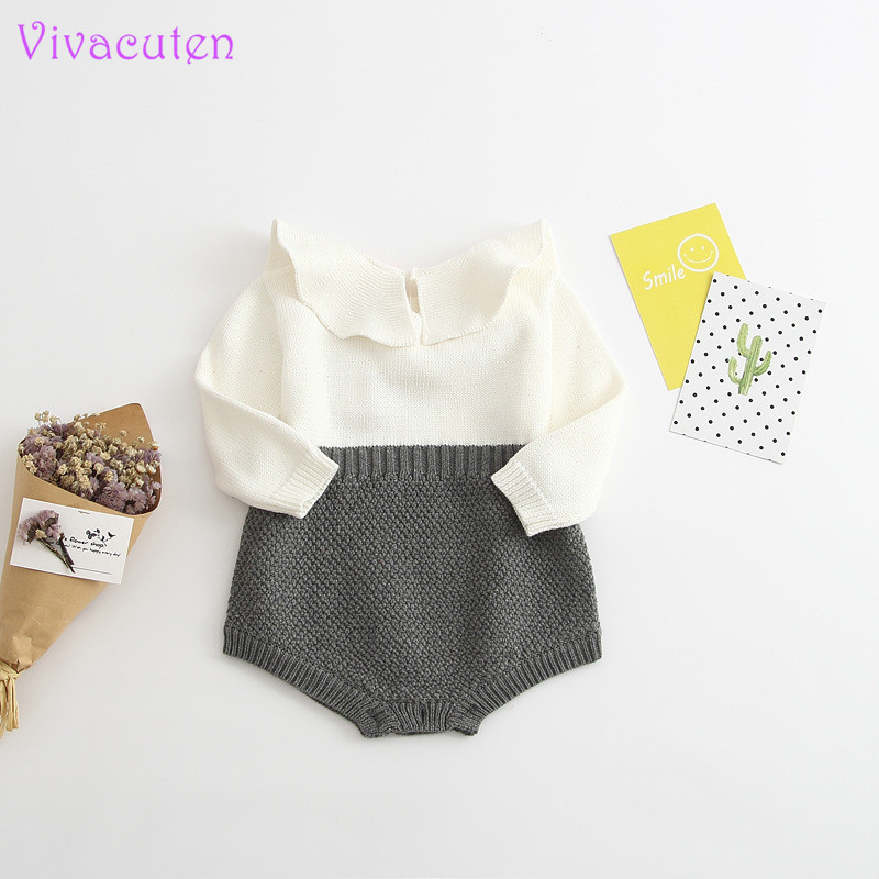 2017 Spring Autumn Cute Princess Baby Romper Newborn Baby Clothes Kids Girls Boys Long Sleeve Jumpsuit Infant Knitted Rompers baby boys girls clothes newborn rompers carton infant cotton long sleeve jumpsuits kids spring autumn clothing jumpsuit romper