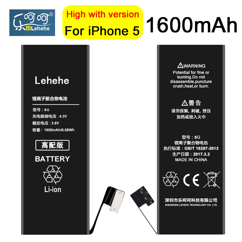 New 100% Original LEHEHE Battery For iphone 5 1600mAh High Quality 0 cycle Battery Replacement Free Tools Gifts ...