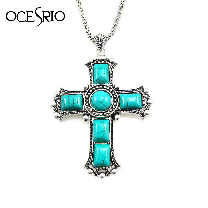 Color : Epidote ZXF Cross Womens Large Necklace Retro Mens Natural Blue Stone Necklace Necklace Gemstone Natural Stone National Jewelry Statement Womens Accessories Fashion Pendant Reiki