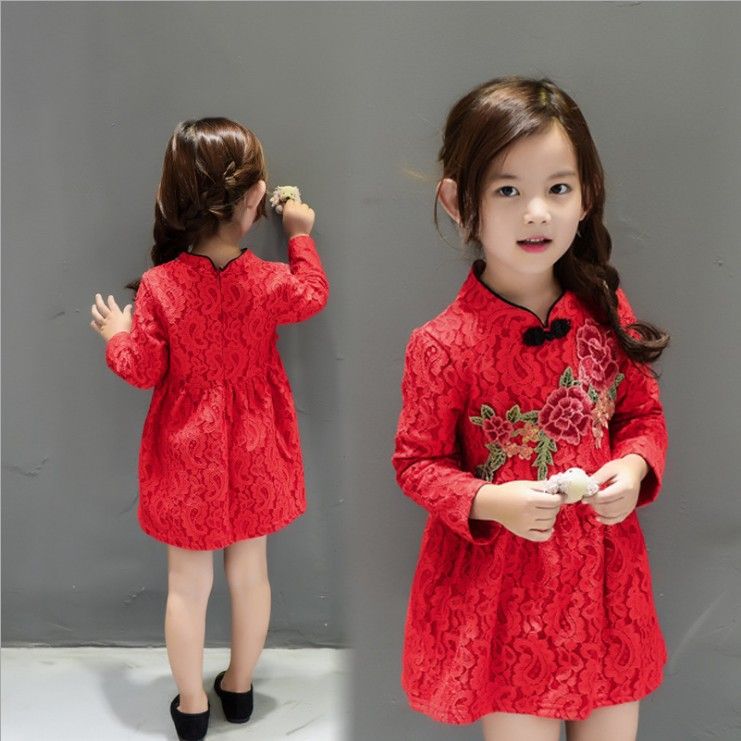 New Chinese Style Girl Dress 2017 winter basic Baby Cute Embroidery Dress Kid Floral Dress Red Children Thicken Fleece Cheongsam 100 super cute little embroidery chinese embroidery handmade art design book
