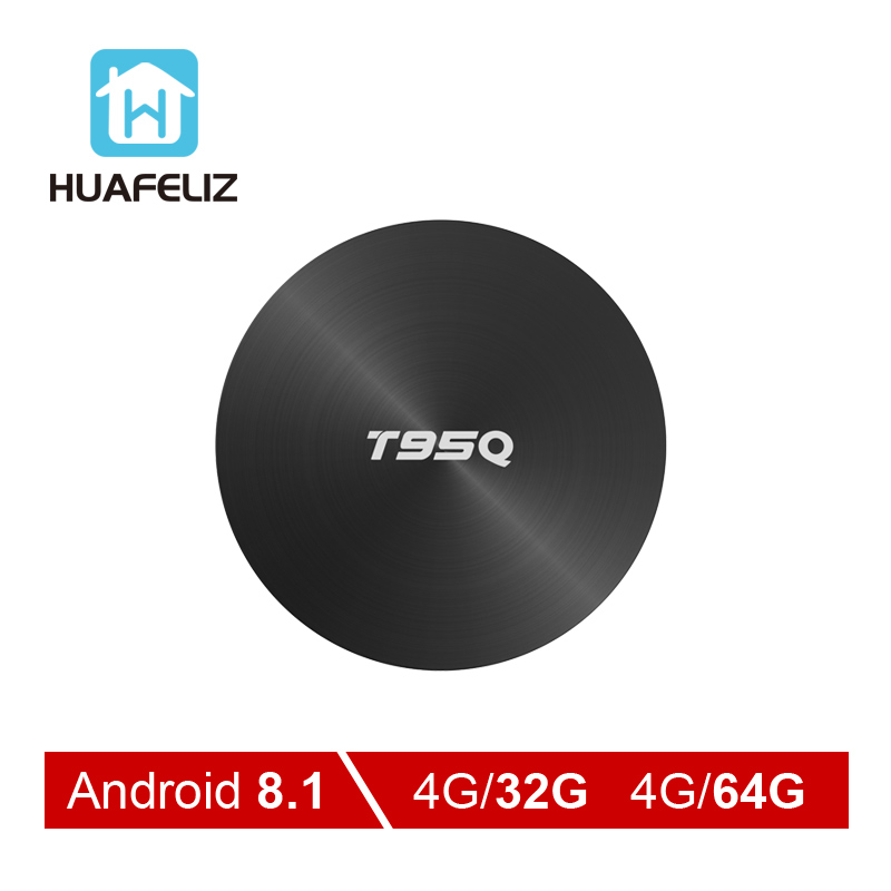 T95Q Android 8,1 Tv Box 4 GB 32 GB Amlogic S905X2 Quad Core 2,4/5,8G Wifi BT4.1 1000 M 4 K reproductor de medios 4GB64GB Android caja de tv inteligente