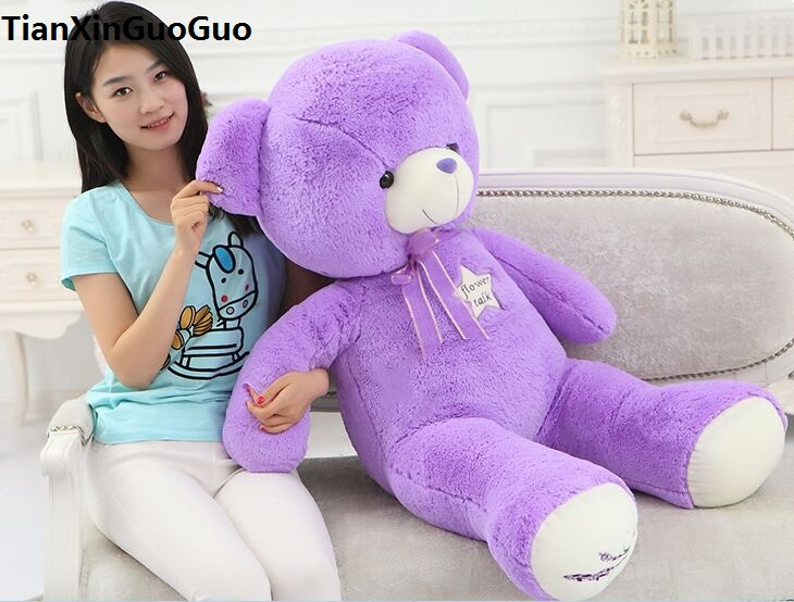 fillings plush toy large 100cm purple teddy Bear plush toy soft bear doll throw pillow Christmas gift b0802 stuffed animal 120 cm cute love rabbit plush toy pink or purple floral love rabbit soft doll gift w2226