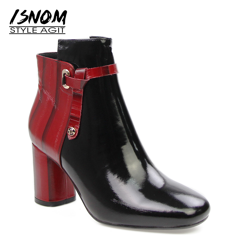 Sexy Patchwork High Quality Ankle Boots Brand Designers Winter Boots Easy Waking Square High Heels Shoes Woman Genuine Leather waking gods
