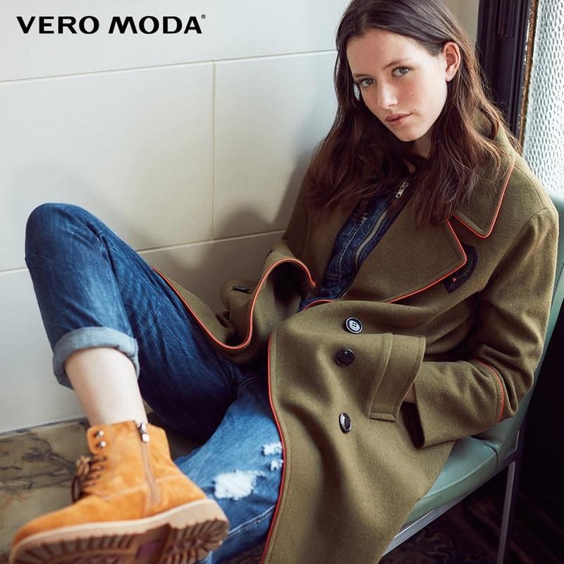 Vero Moda Lapel Double breasted Woolen Overcoat 317427510