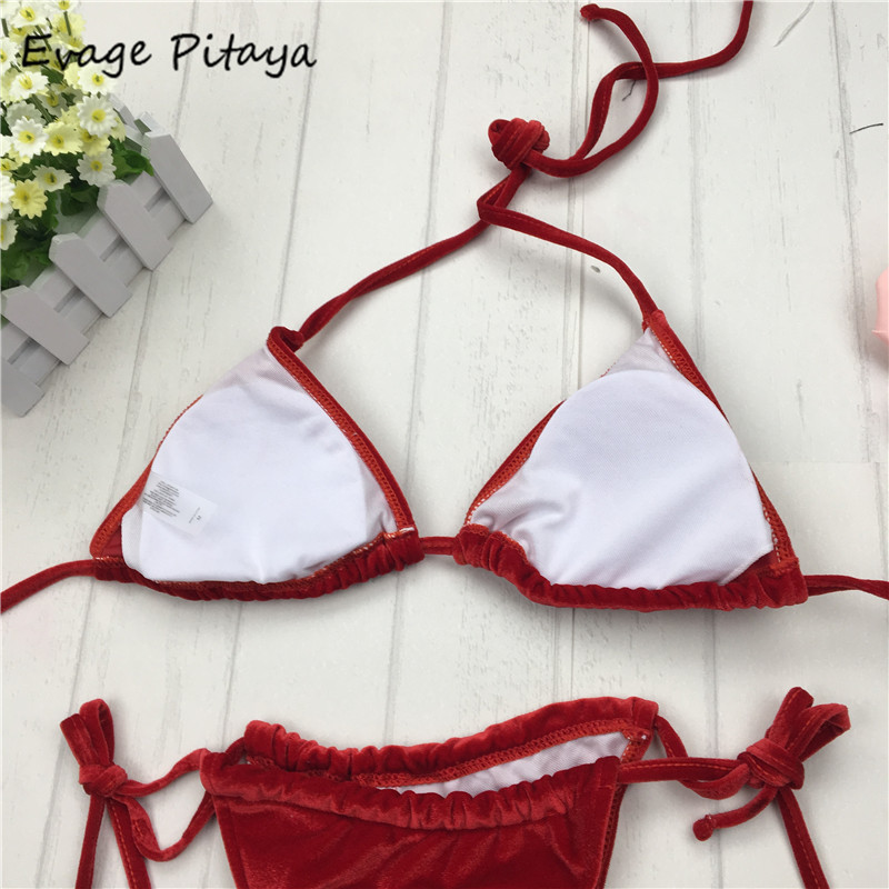 nuovo concetto 1b634 df2c2 US $11.39 |2017 Estate Rosso Scuro Oro Blu Perizoma Velluto Bikini Set  Brasiliano Costumi Da Bagno Per Le Donne Costume Da Bagno di Usura Della ...