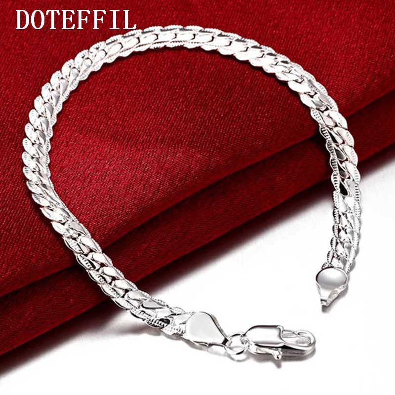 Sprzedaż hurtowa 6MM pełna bezdroża bransoletka dla kobiet mężczyzn 925 kolor srebrny biżuteria bransoletka węża łańcucha