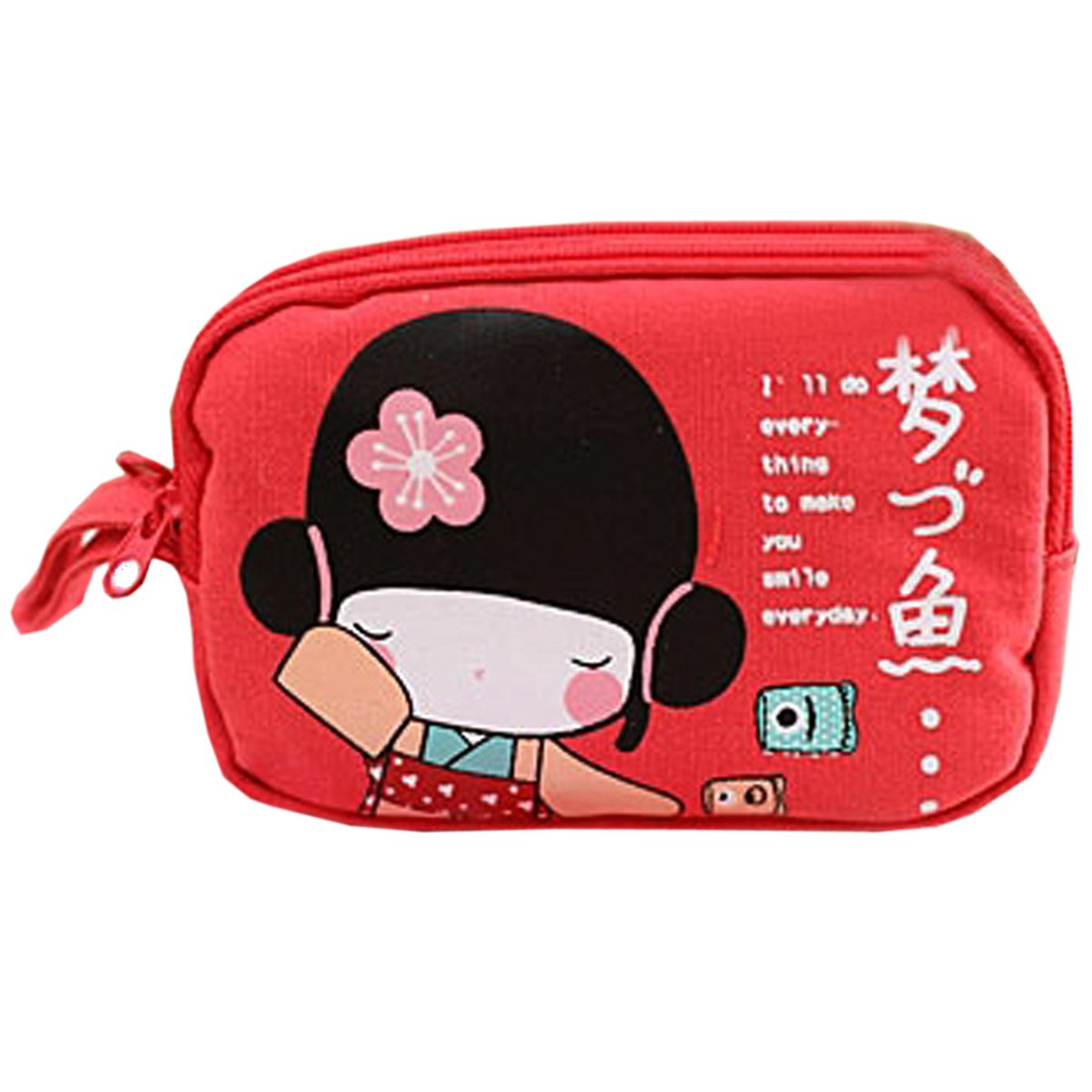 New Cute Japanese Girl Print Canvas Phone Bag Double Zipper Purse Coin Bag Red