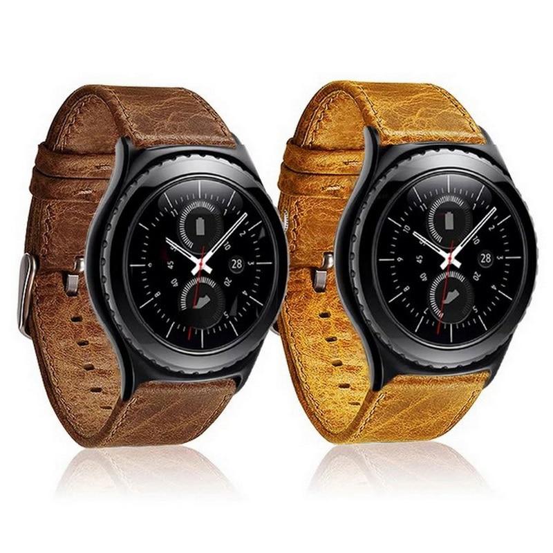 Neues Retro Real Premium Echtleder-Uhrenarmband für Samsung Gear S3 Frontier / Classic Uhrenarmband mit Adapter