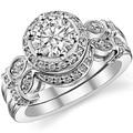 Conjunto De Casamento De Luxo Banhado A Ouro Branco Centro 2ct Halo LASAMERO Redonda Anel de Noivado de Diamante Simulado 925 Bodas de prata Set