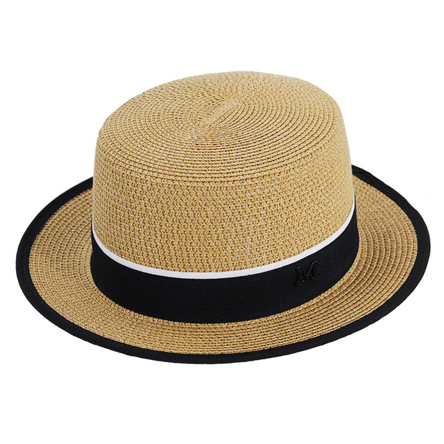 03d3eee0cd2 Lady Boater sun caps Ribbon Round Flat Top Straw beach hat Panama Hat  summer hats for women straw hat snapback gorras