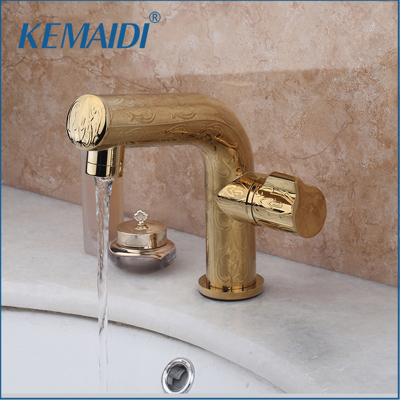 KEMAIDI Luxury  Golden Finished Good Quality Single Holder Bathroom Basin Sink Mixer Tap Faucet Deck Mounted Single Handle