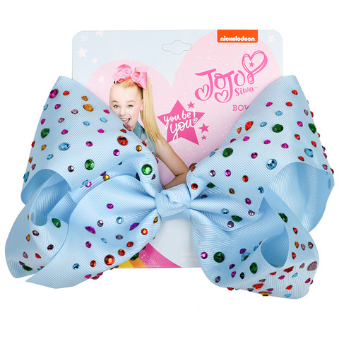 JOJO Siwa 8Inch Large Hair Bow Baby Girls Headwear Colorful Rainbow Hot drilling Bows Festive Party Hair accessories Hair clip Islamabad