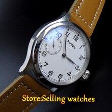 Parnis watch 47mm white dial Luminous 6497 Mechanical hand wind movement Men's watch