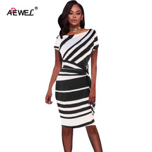 ADEWEL 2019 Autumn Stripe Print Work Dresses Women Red/Black/Navy White Knot Sheath Pencil Dress Elegant Party Vestidos Robes pencil stripe knot cami top
