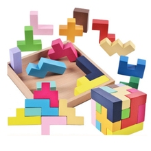 Tetris wooden puzzles for children 2-4 years old 3d puzzle jigsaw board educational toys kids learning games fun letter toy