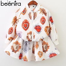 Beenira Girls Clothing Sets 2019 Wionter Style Kids Outerwear Pattern Printed Clothing Suits Children Jacket and Dresses 2Pc Set