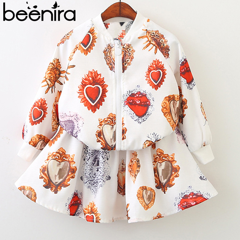 Beenira Girls Clothing Sets 2018 Spring Style Kids Outerwear Pattern Printed Clothing Suits Children Jacket and Dresses 2Pc Set