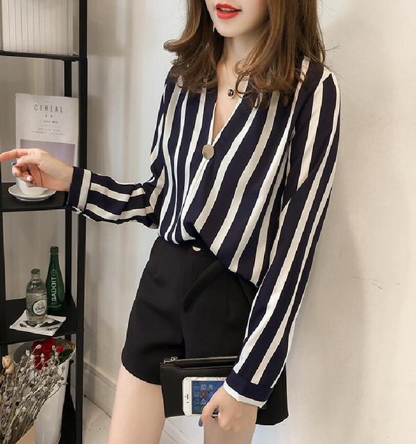 2781dfda264b7c Moda cuello en V profundo manga larga Mujer Blusas 2019 otoño Tops Mujer  Blusa de gasa
