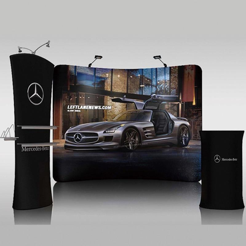 Tissu de Tension incurvé personnalisé 10 pieds, présentoir de salon, Stand de Tube Pop-Up, mur darrière-plan Portable avec roues de valise de voyage