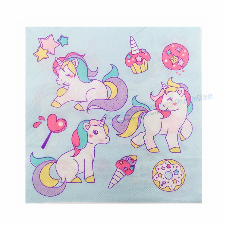 Permalink to 200pcs Unicorn Paper Napkins Unicorn Baby Blue Birthday Party Supplies Unicorn Tableware Kid's Party Wedding Gender Reveal Decor