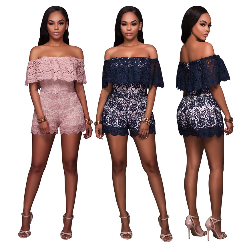 2017 Summer Woemn Suits Ruffle Overalls Bodycon Playsuits Leotard Off Shoulder Lace Bodysuit Women Two Pieces Set Tops+pants