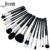 Jessup pro 15 pcs makeup brushes set pó fundação sombra delineador lip brush tool preto e prata