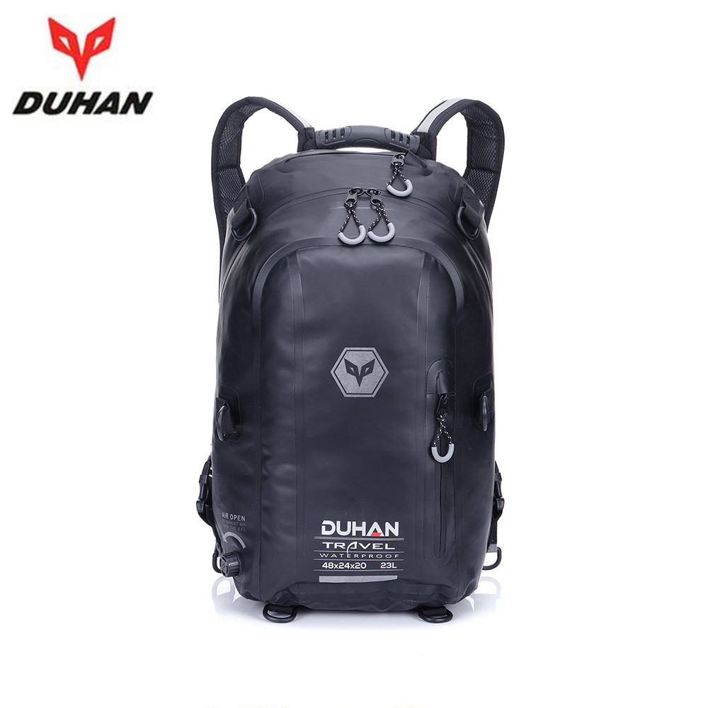 duhan black waterproof backpack moto bag motocykle