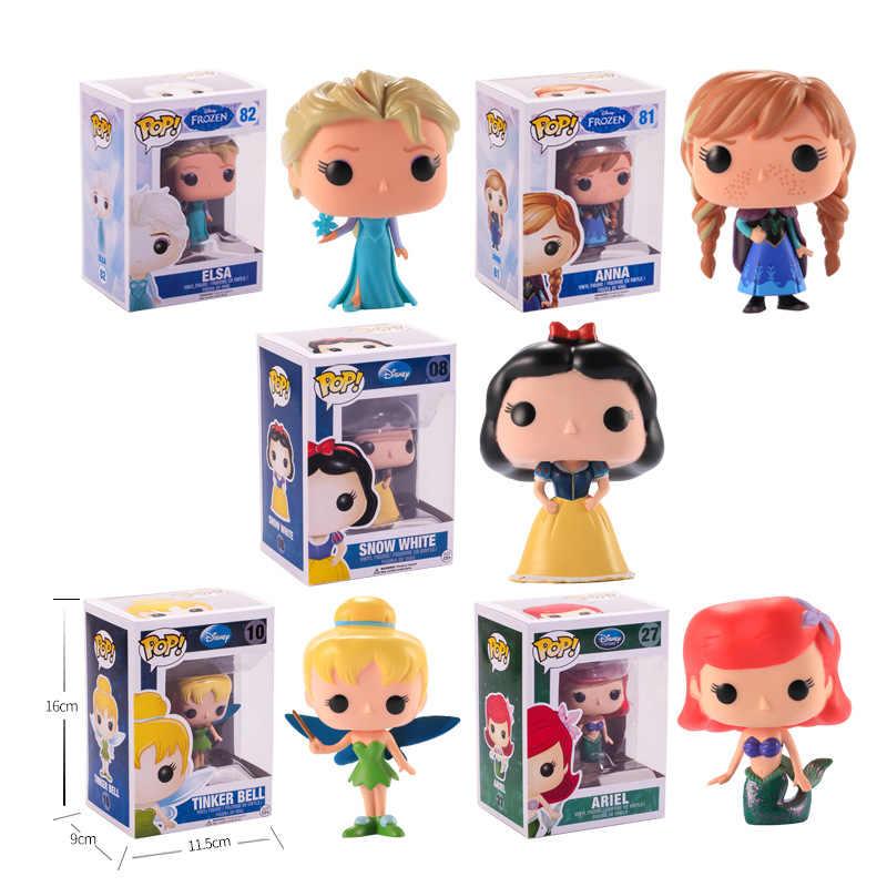 Funko поп Новая принцесса куклы Девочки игрушки Эльза Анна Русалочка, Белоснежка ПВХ фигурка Коллекция Модель игрушки для детей подарок