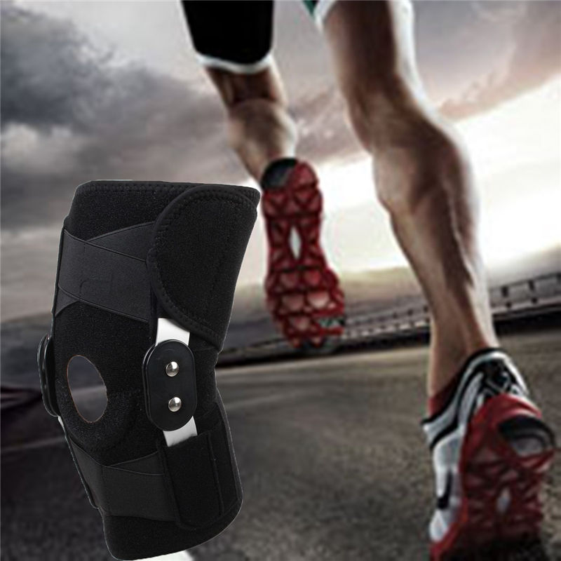 Sports Leg <font><b>Knee</b></font> Support Brace Wrap Protector Around Hinged <font><b>Knee</b></font> Brace Support Patella Compression Pain Relief Belted Adjustable