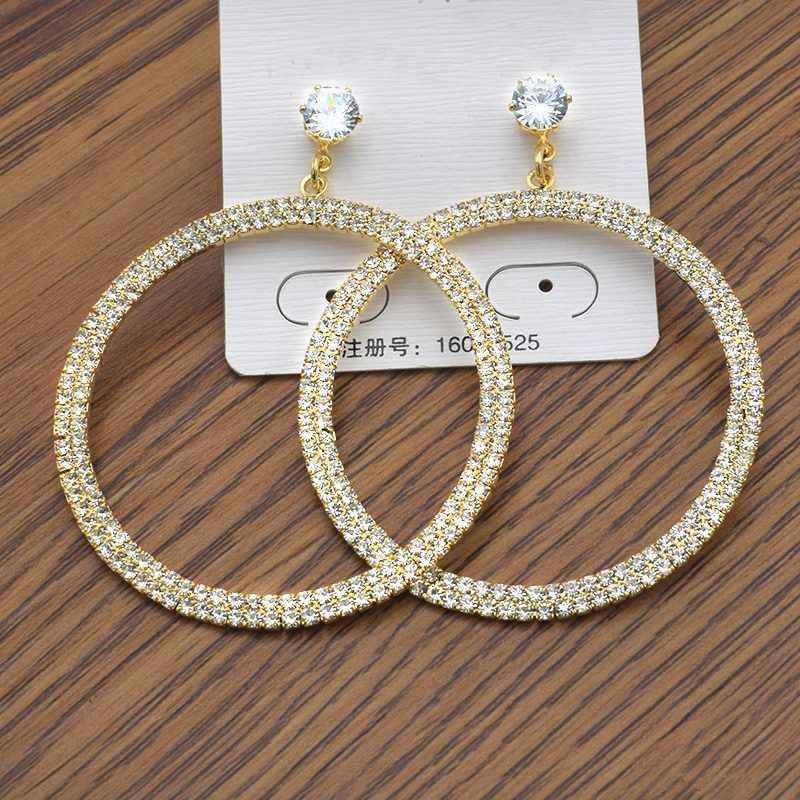 Pendientes colgantes redondos para mujer joyería de moda incrustaciones de metal Rhinestone pendientes llamativos punk longitud 4,5 cm