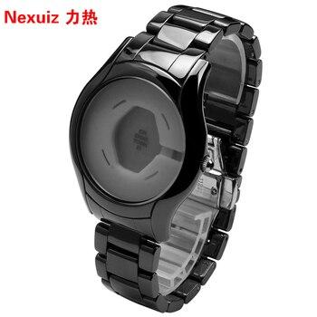 Новые Ремешки для наручных часов 22 мм, высококачественный керамический ремешок для часов, черные бриллиантовые часы, подходят для AR1400, мужс...