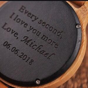 Image 3 - Часы BOBO BIRD для пар, Гравировальный подарок, мужские часы, семейный сын, Папа, мама, мужские Кварцевые женские и мужские наручные часы с логотипом bayan kol saati