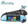 "Digitalboy espejo de coche dvr 7 ""3G GPS WIFI Bluetooth Grabadora de Doble Lente de Espejo Retrovisor de Vídeo Android 5.0 1080 P Dash Cam Camcordar"