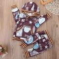 Primavera 2 PCS Bebê Recém-nascido Da Menina do Menino de Futebol Imprimir Manga Comprida Com Capuz Tops Calças Playsuit Outfits Roupa Do Bebê Set EUA