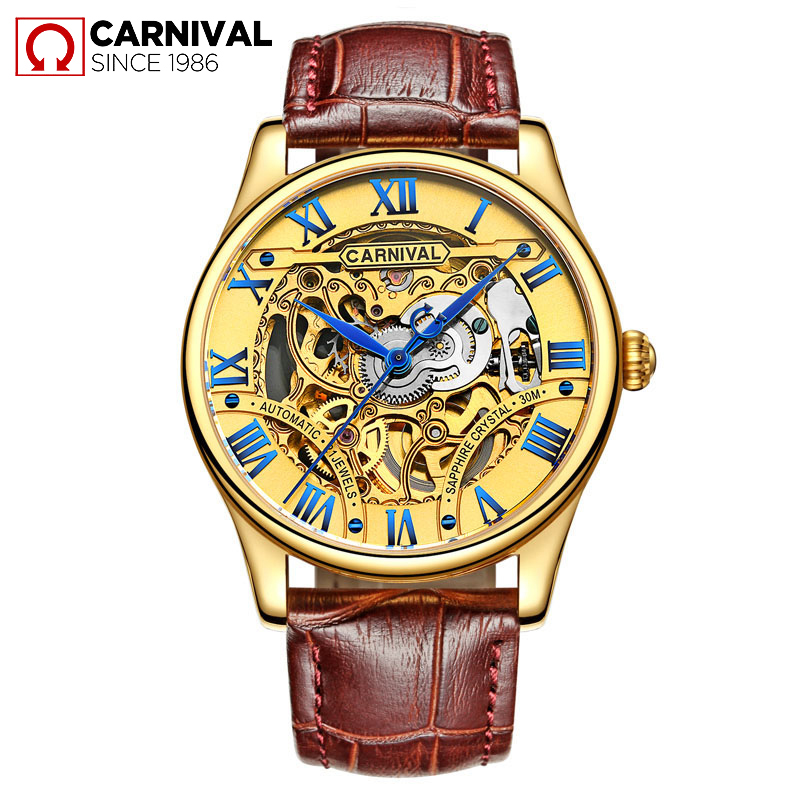 все цены на Men Automatic Watch Male Clock Fashion Skeleton Mens Watches Top Brand Luxury Gold Mechanical Wristwatch Relogio Masculino 2018