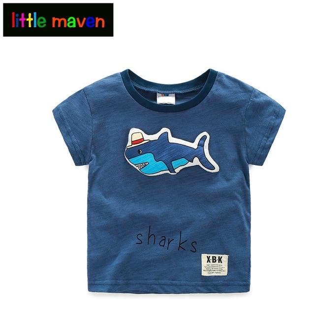 b0f851000 3 Colors Boy Shirt 2 10 Years 3D Shark Pattern Short sleeve Cotton ...