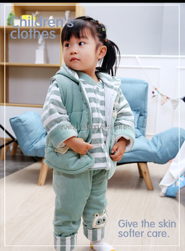 2018 Winter Newborn Baby Boy&Girl Clothing Set for Infant Kids Flannel Cotton Padded Clothes 3pcs Children Warm Outerwear Suits