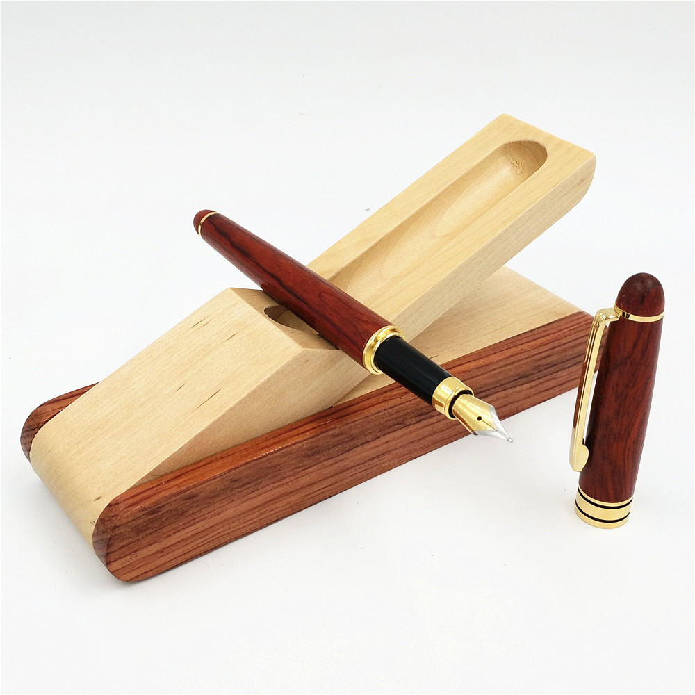 1PC Roller Pen or Fountain Rosewood Mahogany Signature Set Boutique High Quality Wooden Stationery Gift Company Gifts