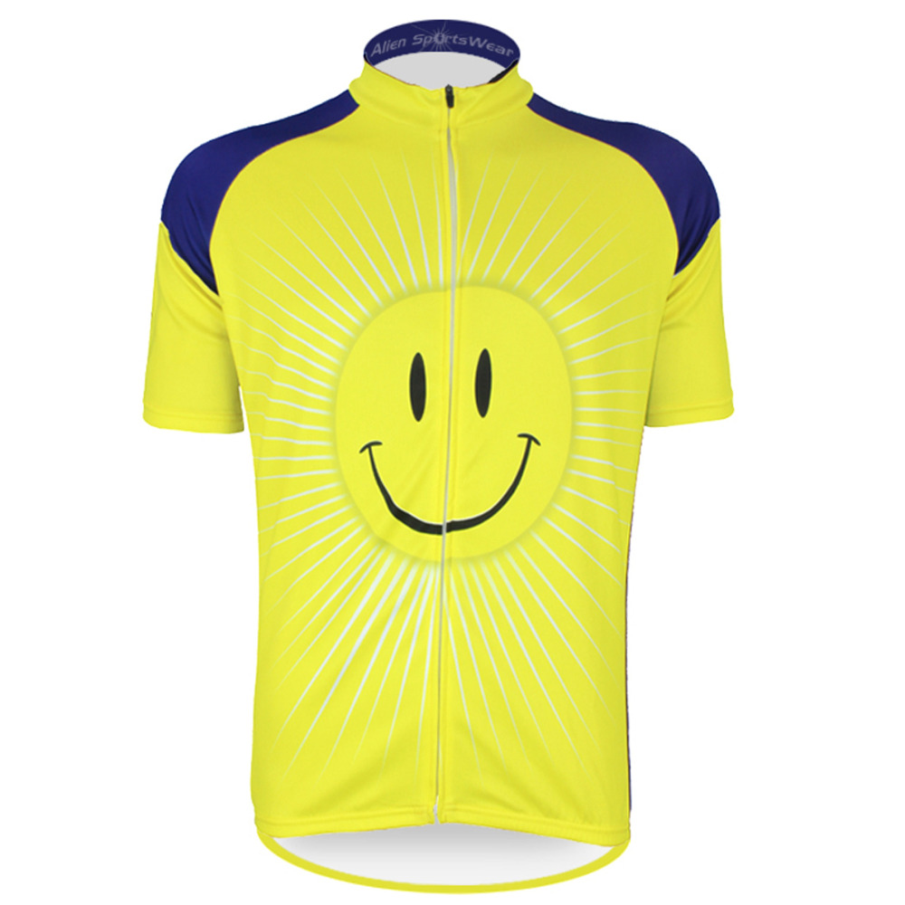 ФОТО 17 Smile Pattern Bike Clothing Men's Summer 2017 Sleeve Breathable Cycling Jersey Yellow Size XS To 5XL