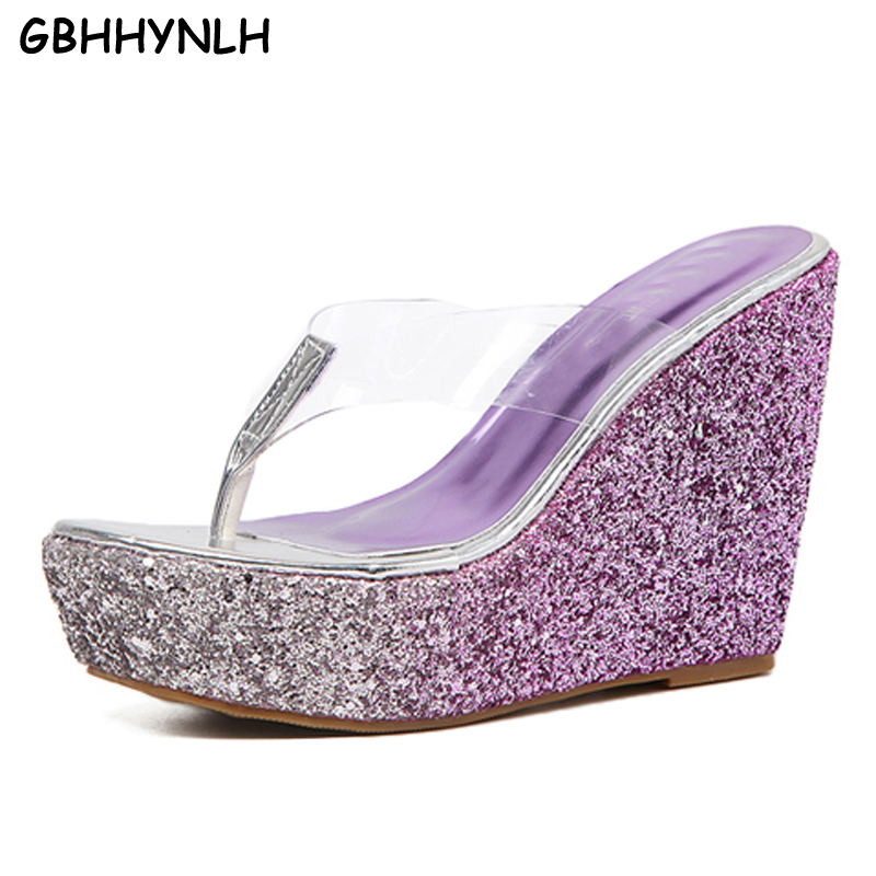 GBHHYNLH summer sandals clear shoes women flip flops fashion bling wedges sandals heels Transparent platform slippers LJA208 phyanic 2017 gladiator sandals gold silver shoes woman summer platform wedges glitters creepers casual women shoes phy3323