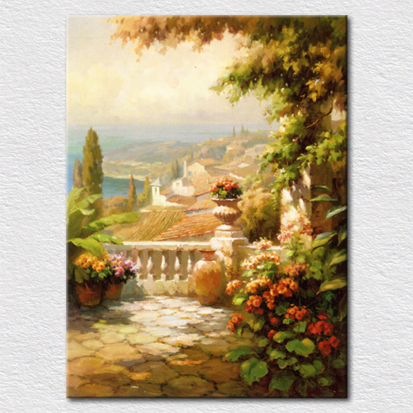 Modern picture oil painting on canvas private garden view paintings ...