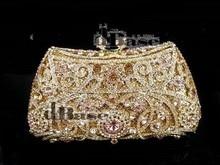 #8131 Peach Crystal Flower Floral Wedding Bridal Party Night hollow Metal Evening purse clutch bag handbag