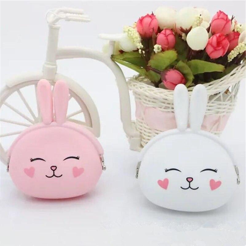 New fashion Coin Purse Lovely Kawaii Cartoon Rabbit Pouch Women Girls Small Wallet Soft Silicone Coin Bag Kid Gift D4