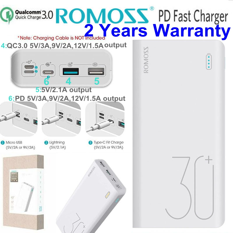 Romoss PD <font><b>Power</b></font> <font><b>Bank</b></font> 30000mah QC 3.0 Quick Charge Powerbank <font><b>30000</b></font> <font><b>mah</b></font> 9V 2A 12V 1.5A for iPhone X <font><b>Xiaomi</b></font> Mi8 Samsung S9 Nexus 6p image